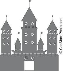 black castle silhouette logo on white background. Vector