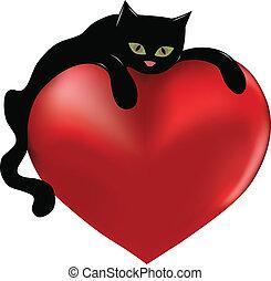 Black cat hugging a big heart. Illustration.