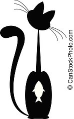black Cat and white fish. vector. isolated