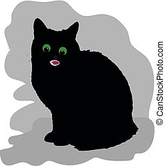Black cat, angry, sits, label for design on a white background,