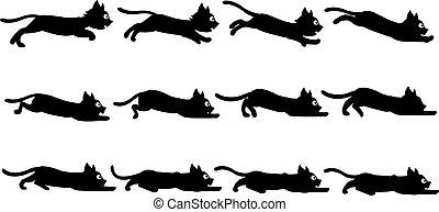 Black Cat Animation Sprite - Vector Illustration of Black...