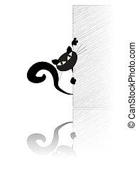 Black cat behing the wall