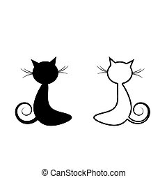Black cat silhouette isolated on white background