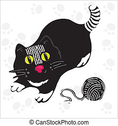 Black cat - Black kitten played with a ball of yarn. Vector
