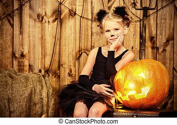 black cat child - Lovely little girl in a costume of black ...