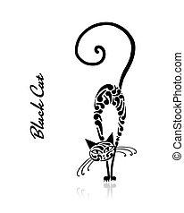 Black cat design. Vector illustration