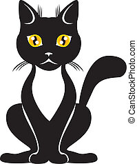 Black cat - The graceful black cat with yellow eyes