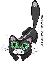 Black cat - Black cartoon cat. Vector illustration on white...