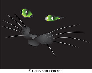 Black cat face - Cartoon face of halloween cat on black...