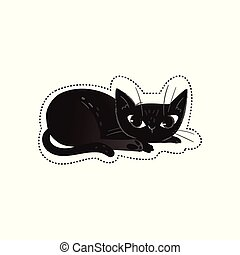 Black cat for Halloween design or fashion print vector illustration isolated.