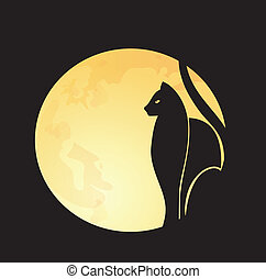 Cat's silhouette on a full moon, vector illustration