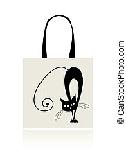 Black cat graceful, design of shopping bag
