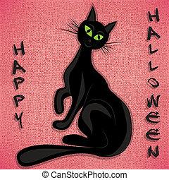 Black cat halloween vector illuatration