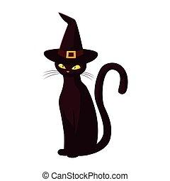 black cat happy halloween celebration design