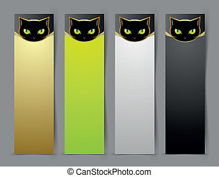 Black cat head banners isolated on grey background