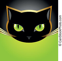 Black cat head - Golden and black cat head on black and...