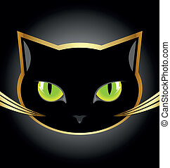 Black cat head - Golden and black cat head on black...