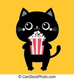 Black cat holding eating popcorn. Cinema theater. Cute ...