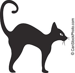 Black cat icon flat style. Isolated on white background. Vector illustration.