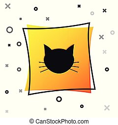Black Cat icon isolated on white background. Yellow square button. Vector Illustration