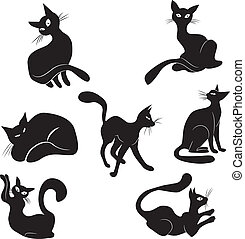Black cat icon silhouette collectio