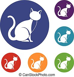 Black cat icons set