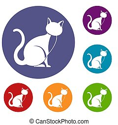 Black cat icons set in flat circle reb, blue and green color...