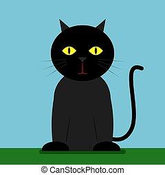 Black cat, illustration, vector on white background.