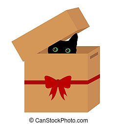 Black cat in a box with red ribbon