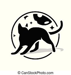 Black cat in circle at night sky, stars and moon. Silhouette black cat on white background, idea for company style and logo. Vector illustration.