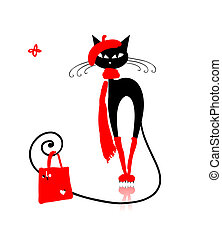 Black cat in fashion clothes with shopping bag for your design