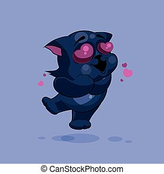 Black cat in love - Vector Stock Illustration isolated Emoji...