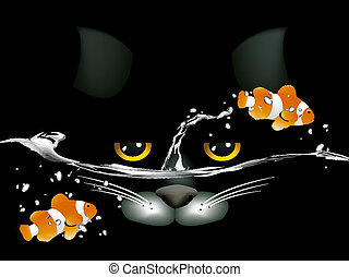 black cat looking at two clown fish.