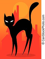 black cat on a background of the city in red colors, style, elegance, vector illustration,