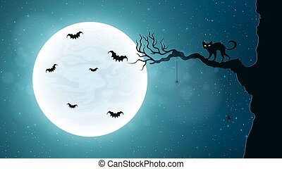 Black cat on a tree against the background of the full moon. Terrible night. Flying bats. Realistic starry sky. Background for Halloween