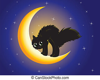 Black cat on moon - Cute cartoon black kitten on crescent...
