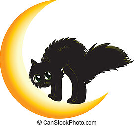 Black cat on moon - Cute cartoon black kitten on crescent...