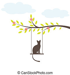 Black cat on  swing. Vector Illuatration