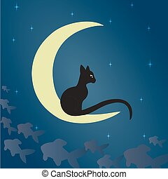 Black cat on the moon