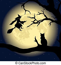 Black Cat on the Tree at full Moon