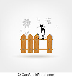 Black cat on wooden fence for your design