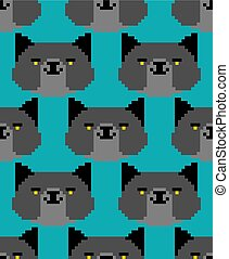 Black cat pixel art pattern seamless. 8 bit Digital home pet background. Vector ornament