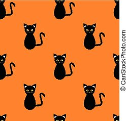 Black Cat Seamless on Orange Background