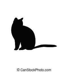 Black cat silhouette isolated on white background.