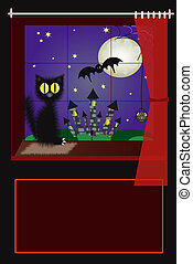 Black cat sitting at the window with night background.