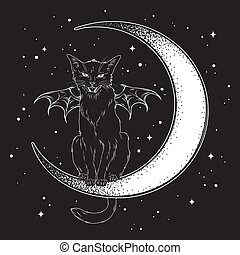 Black cat sitting on the crescent moon
