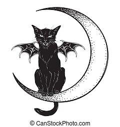 Black cat sitting on the crescent moon - Black cat with bat ...
