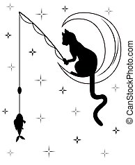 Black cat sitting on the moon and catches a fish - Black cat...