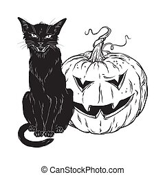 Black cat sitting with halloween pumpkin