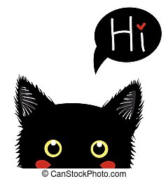 Black Cat Sneaking. Greeting Card Halloween Day. Vector Illustration.